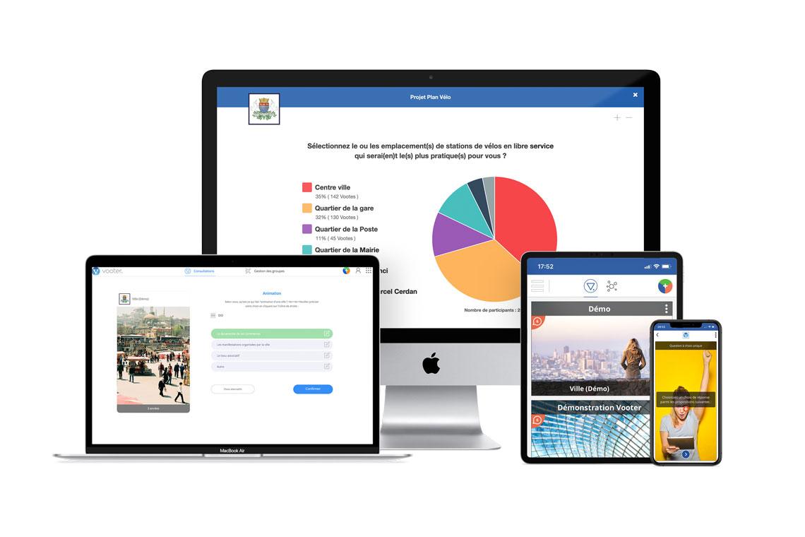 Illustration de la plateforme web et de l'application mobile de vote et de sondage Vooter